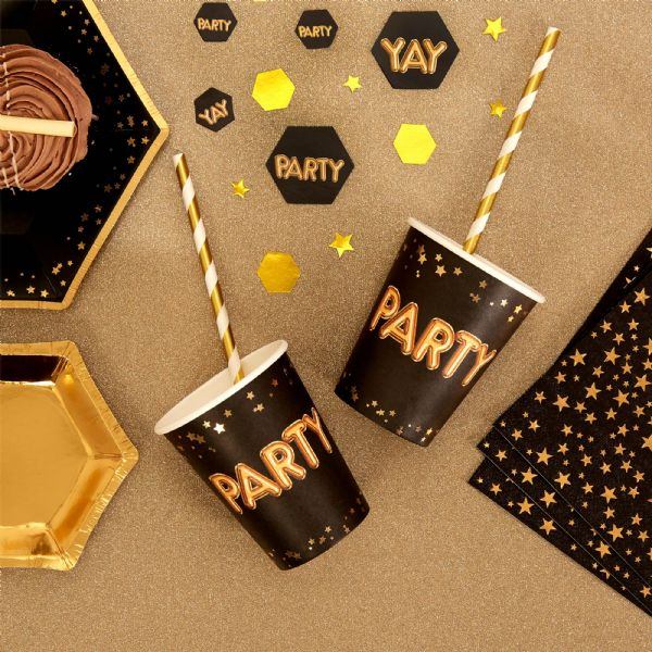 Glitz & Glamour Black & Gold Party Cups (8)